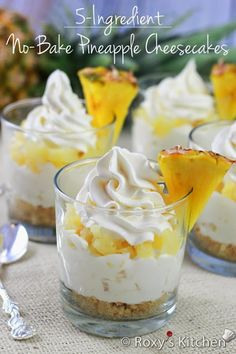 no-bake pineapple cheesecakes