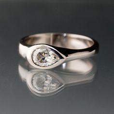 Moissanite Tear Drop Engagement Ring in by NodeformWeddings, $530.00