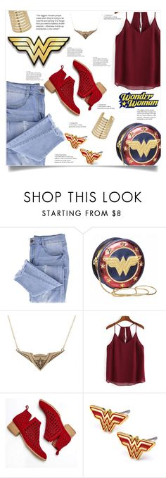 """Ripped Jeans (The Wonder Woman Style)"" by elisabetta-negro ❤ liked on Polyvore featuring Essie, Jeffrey Campbell, rippedjeans, wonderwoman and distresseddenim"