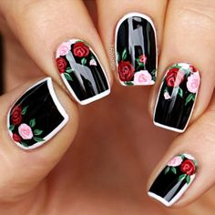 Black Nails with Floral Design Picture 6 - Nails - Nail Art Designs, Flower Nail Designs, Black Nail Designs, Nails Design, Pedicure Designs, Fancy Nails, Cute Nails, Gel Nagel Design, Floral Nail Art
