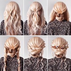 Hair by Melissa Oldridge Boho step by step tutorial for a special occasion or bridal look Wedding Updo Tutorial, Wedding Hairstyles Tutorial, Hair Updo Tutorial, Updo Diy, Boho Updo Hairstyles, Medium Hair Styles, Short Hair Styles, Blonde Updo, Short Hair Updo