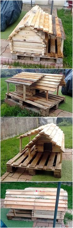 80 Super DIY Ideas For Wood Pallet Dog Houses: Here we are clearing this statements through the creation of wonderful and super DIY wooden pallet dog house. Pallet Projects Diy Garden, Wooden Pallet Crafts, Wooden Pallet Furniture, Furniture Ideas, Pallet Dog House, Pallet Dog Beds, Recycled Pallets, Wood Pallets, Dog Houses