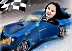 *Action woman *She is in love with her sports car :). Caricature, Action, Paintings, Woman, Sports, Group Action, Paint, Painting Art, Sport