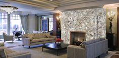 Semi-precious fireplace surround.