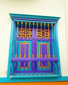 Filandia, Quindío (Colombia)  Eje Cafetero - Coffee Cultural Landscape  Window - Colorful Garden Doors, Doorway, Exterior Paint, Windows And Doors, Weaving, Stairs, Architecture, San Rafael, Wood