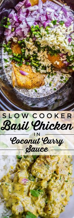 Slow Cooker Basil Chicken in Coconut Curry Sauce from The Food Charlatan. This Slow Cooker Coconut Curry Chicken is one of the best curries I've ever had! The sauce starts with the coconut milk with jalapeño and red onion. It's not too spicy, but has tons of flavor! #curry #chicken #slowcooker #coconut #basil #crockpot #easy Slow Cooker Recipes, Cooking Recipes, Healthy Recipes, Crockpot Recipes, Crockpot Dishes, Veg Recipes, Healthy Eats, Yummy Recipes, Chicken