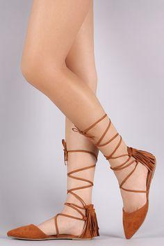 Wild Diva Lounge Suede Fringe Lace Up Pointy Toe Flat