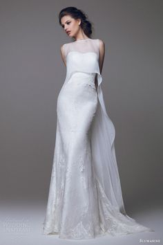 blumarine wedding dresses 2015 strapless lace gown with sleeveless high to low overlay #wedding #dress #bride