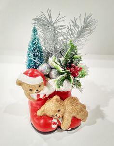 Santa boots with teddy bear Midcentury by ArtForYourHeartShop