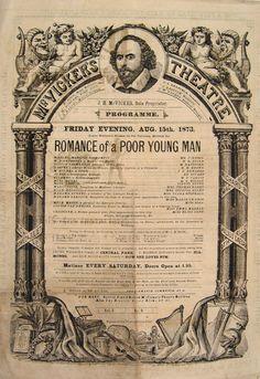 Antique 1873 McVicker's Theatre Chicago Playbill