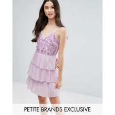Maya Petite Embellished Top Mini Dress With Layered Pleated Skirt (1.459.360 IDR) ❤ liked on Polyvore featuring dresses, petite, purple, v neck cami, sequin prom dresses, v neck maxi dress, v-neck maxi dresses and purple cocktail dresses