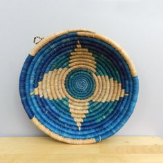 Handwoven Grass Bowl, Handwoven Basket, Denim Blue and Green, Wall Art, African Basket, Blue Home Decor, Made in Rwanda, Natural Grass Bowl
