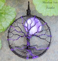 Purple and Black Tree of Life with Purple Mother of Pearl Moon by MadamVonTrinkets
