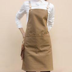 Brown Black Gray Canvas Apron Crossback Straps - Little Tailor Studio Cafe Uniform, Waiter Uniform, Cafe Apron, Restaurant Uniforms, Uniform Design, Apron Designs, Black Khakis, Estilo Retro, Minimal Fashion