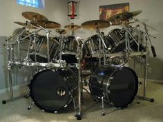 large drum set lots of cymbals,