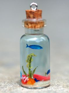 Tiny Seahorse and Fish Seascape in medium Bottle by jen4eternity, $70.00