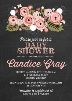 Chalkboard Baby Shower Invitations DIY Printable by PoofyPrints