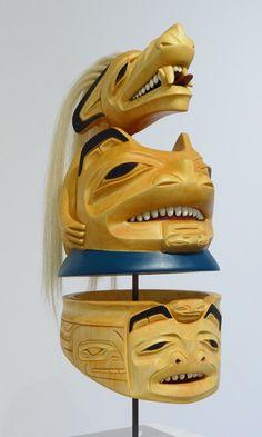 "Dempsey Bob, ""Wolf Warrior Helmet"", Alder, Operculum shells, acrylic paint, 2014"