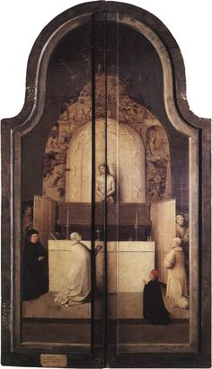 ❤ - HIERONYMUS BOSCH (1450 - 1516) -  The Epiphany - Triptych of the Adoration of the Magi - The closed view with the Mass of Saint Gregory. Prado Museum.