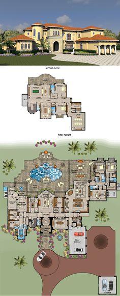House Plan 71539 | Florida Mediterranean Plan with 9639 Sq. Ft., 5 Bedrooms, 8 Bathrooms, 5 Car Garage