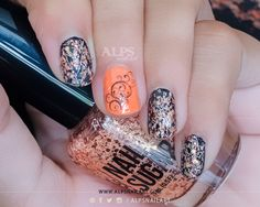 Orange Nails for #31DC2014 Day 2 by @alpsnailart