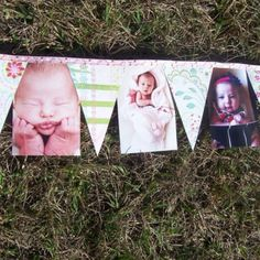 Photo banner with senior pics and SHS on the triangles, all hung by clothes pins on ribbon