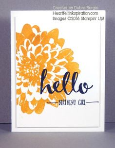 Definitely Dahlia is a huge stamp that provides maximum impact for little effort.  Only two more weeks (through 2/15) to get Hello for FREE during Sale-A-Bration.