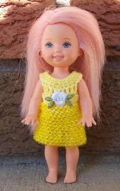 Kelly 4 1/2  Fashion Doll Yellow Beaded Dress Crocheted
