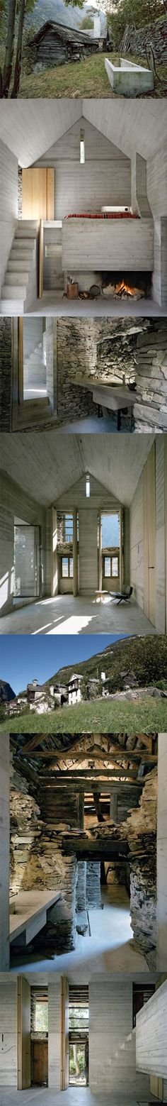 striking contrast between primitive stone foundation + site-cast concrete infill | Umbau Casa d'Estate in Linescio, Switzerland by Buchner Bründler Architekten