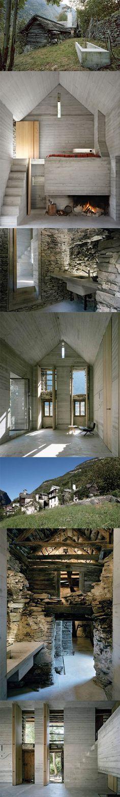 striking contrast between primitive stone foundation + site-cast concrete infill | Umbau Casa d'Estate in Linescio, Switzerland by Buchner Bründler Architekten