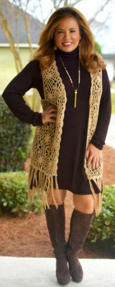 Perfectly Priscilla Boutique - Caught In Your Web Vest - Mocha, $40.00 (http://www.perfectlypriscilla.com/caught-in-your-web-vest-mocha/)