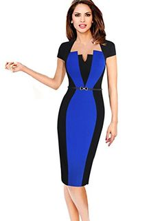09a7ecbed24 VfEmage Womens Elegant Colorblock Contrast Work Business .