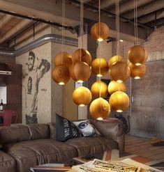 Wooden Orb Sphere Cluster Chandelier With LED Bulbs Wood Chandelier, Tree House Interior, Lamp Decor, Wooden Pendant Lighting, Pendant Lamp, Chandelier In Living Room, Wooden Orb Chandelier, Contemporary Chandelier, Cluster Chandelier
