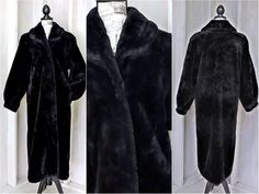 9fc04db971f1 Beautiful Plush Black Faux Fur Coat / size M 8 / 10 / full length warm  winter coat / vintage long fake fur coat / Monterey Fashions USA
