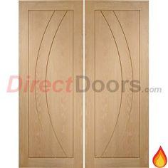Salerno Oak Flush Panel Fire Door Pair is 30 Minute Fire Rated  #oakfiredoors #firedoors #directdoors