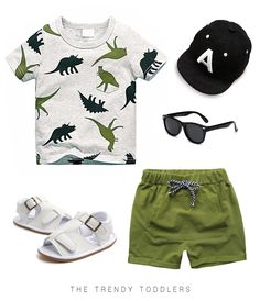 Your toddler boy will look super stylish in this summer outfit, complete with a dinosaurs tee, green shorts, white sandals, cap and sunglasses Toddler Boy Fashion, Little Boy Fashion, Toddler Boy Outfits, Toddler Boys, Kids Fashion, Boys Summer Outfits, Little Boy Outfits, Kids Outfits, Newborn Boy Clothes