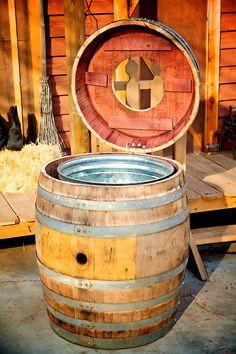 Trash Can — King Barrel Wood Crates, Wood Pallets, Wooden Boxes, Wooden Barrel Ideas, Wine Barrel Diy, Wine Barrels, Barrel Bar, Wine Barrel Furniture, Deck Furniture
