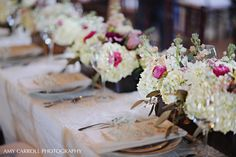 Lush floral centerpieces in wooden boxes. Planning a Michigan Wedding with Pearls Events: Real Wedding 2012 | Jennifer & David