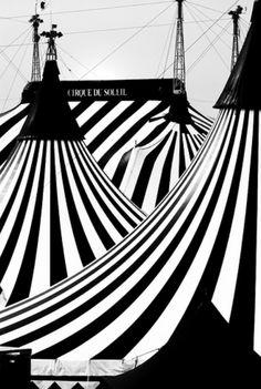 "This looks like the setting of ""The Night Circus""! Grand Chapiteau of Cirque du Soleil (b/w) Black White Photos, Black White Stripes, Black And White Photography, White Art, Arte Punch, Art Du Cirque, Es Der Clown, Night Circus, Big Top"