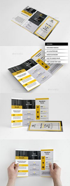 Modern Business Trifold — InDesign INDD #flat #advertising • Available here → https://graphicriver.net/item/modern-business-trifold/20865547?ref=pxcr