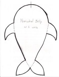 Narwhal pattern. Use the printable outline for crafts
