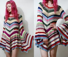 CROCHET DRESS Vintage Colourful Stripe Granny Square Bell Sleeve Mini Handmade Boho Bohemian Hippie vtg Wool xs s m