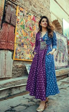 Beautiful Angrakha style printed Kurti in two color part Pakistani Dresses, Indian Dresses, Indian Outfits, Printed Kurti Designs, Kurta Designs, India Fashion, Ethnic Fashion, Angrakha Style, Boho