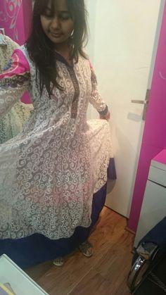 #White#Anarkali #printed #Lining#Short##Dress#TheAura #Indirapuram #Noida
