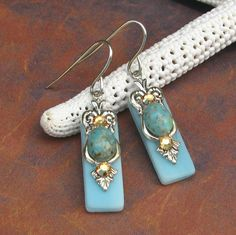 Stained Glass Earrings Turquoise Matrix and Crystal on Etsy, $14.00