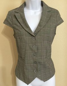 Jules & Leopold Women's Gray Checked Pattern Cap Sleeve Lined Vest Size 4 NWT #JulesLeopold