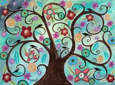 Prolific Tree 16x12 inch Birds Flowers ORIGINAL CANVAS PAINTING Karla Gerard...new painting, available for purchase...