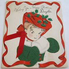 Used Vintage Christmas Card Old Fashioned Girl in Hat w Flocked Coat and Muff