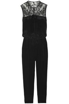 Mason by Michelle Mason|Silk and lace jumpsuit|NET-A-PORTER.COM
