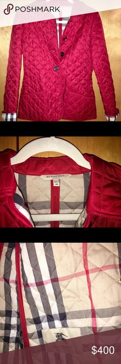 Red quilted Burberry jacket XS Red diamond quilted Burberry jacket. It's an XS and fits like one. No tears or stains. Barely ever worn - like new! Burberry Jackets & Coats